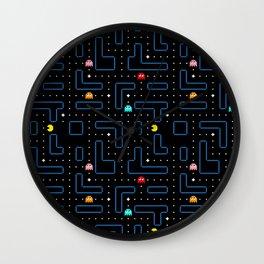 Pac-Man Retro Arcade Video Game Pattern Design Wall Clock