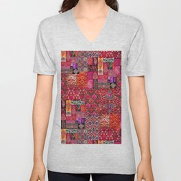 Epic Bohemian Moroccan Traditional Collage Artwork. Unisex V-Neck