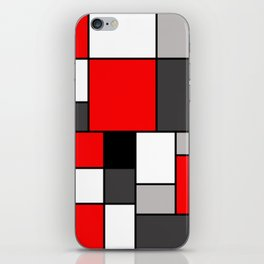 Red Black and Grey squares iPhone Skin