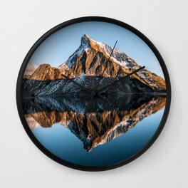 Calm Mountain Lake at Sunset - Landscape Photography Wall Clock