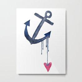 Anchored Heart Metal Print