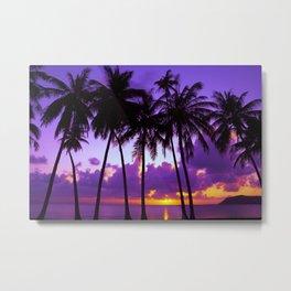 Purple Tropical Sunset Metal Print