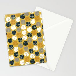 Rosie II Mid Century Modern Floral Pattern in Light and Dark Mustard, Gray, White, and Navy Blue Stationery Cards