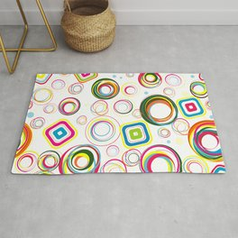 Colorful Funky Retro Circle Pattern Rug
