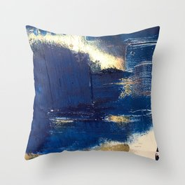 Halo [2]: a minimal, abstract mixed-media piece in blue and gold by Alyssa Hamilton Art Throw Pillow