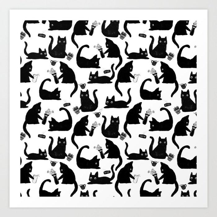 Bad Cats Knocking Stuff Over Art Print