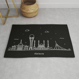 Astana Minimal Nightscape / Skyline Drawing Rug