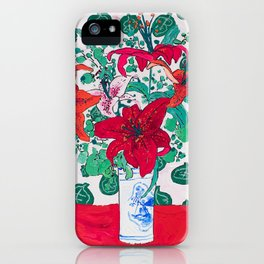Tropical Lily Bouquet in Delft Vase with Matisse Leaf Cutout Background iPhone Case