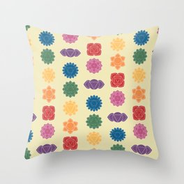 Seven Chakra Mandalas on a Tan Background Throw Pillow