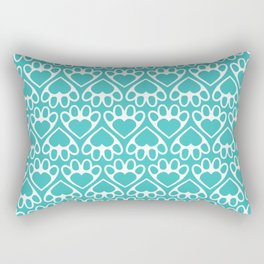 Paw Prints on my Heart - in Cyan Rectangular Pillow