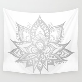 Silver Gray Lotus Flower Wall Tapestry