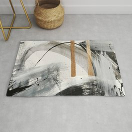 Armor [7]: a bold minimal abstract mixed media piece in gold, black and white Rug