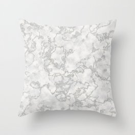 Metallic Silver & White Marble Texture Throw Pillow