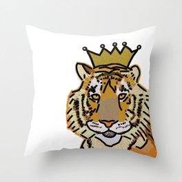 Tiger wearing Crown Throw Pillow