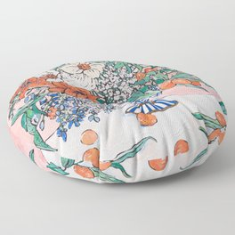California Summer Bouquet - Oranges and Lily Blossoms in Blue and White Urn Floor Pillow