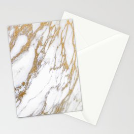 Elegant Creamy White Marble With Luscious Gold Veins Stationery Cards