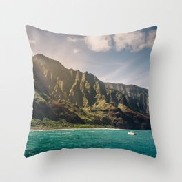 Na Pali Coast Kauai Hawaii Printable Wall Art | Tropical Beach Nature Ocean Coastal Travel Photography Print Throw Pillow