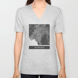 Athens Map ocher Unisex V-Neck