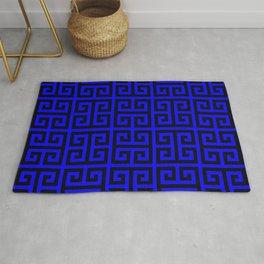 Greek Key (Blue & Black Pattern) Rug