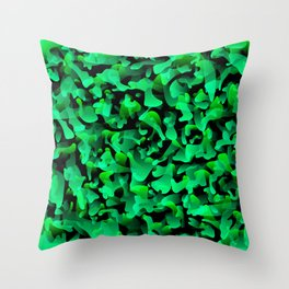 Chaotic bright on the dark of spots and splashes of green colors. Throw Pillow
