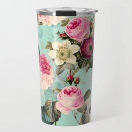 Vintage & Shabby Chic - Summer Teal Roses Flower Garden Travel Mug