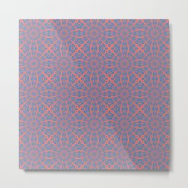 Living Coral And Pacific Blue Shapes Pattern Metal Print