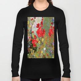 Red Geraniums in Spring Garden Landscape Painting Langarmshirt