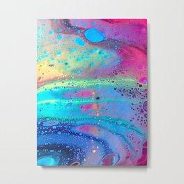 Neon Melt Metal Print