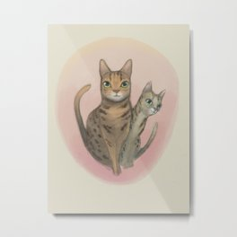 Two Bengal Cats Staring Metal Print