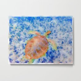 Sea Turtle Exumas Metal Print