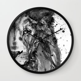 Black And White Half Faced Lion Wall Clock
