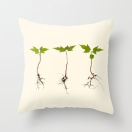 Maple Seedlings on Vintage Paper Throw Pillow