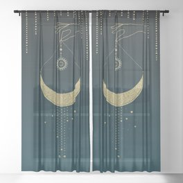 The Magic Of The Moon  Sheer Curtain