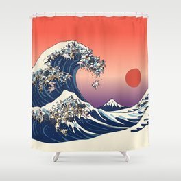 The Great Wave Of  French Bulldog Shower Curtain