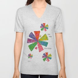You Are Rainbow flower illustration floral pattern self-love pride Unisex V-Neck