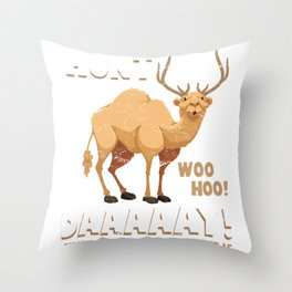 Humpday Camel Hunting Buck Deer Hunt Day Throw Pillow