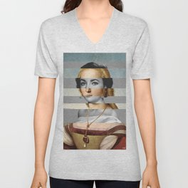Raphael's Young Woman with Unicorn & Elizabeth Taylor Unisex V-Neck