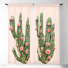 CACTUS AND ROSES Blackout Curtain