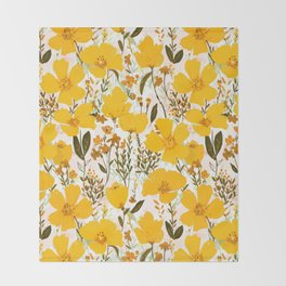 Yellow roaming wildflowers Throw Blanket