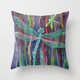 Dragonflies in blue Throw Pillow