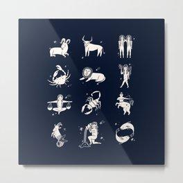 Zodiac - Astrology, Horoscope, Sign, Pattern, Bodies, Animals Metal Print