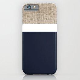 Faux Burlap, White, and Navy Blue Minimalist Color Block Pattern iPhone Case