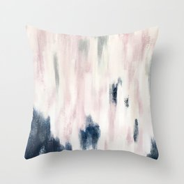 Blush Pink and Blue Pretty Abstract Throw Pillow