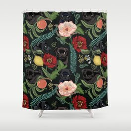 Botanical and Black Pugs Shower Curtain