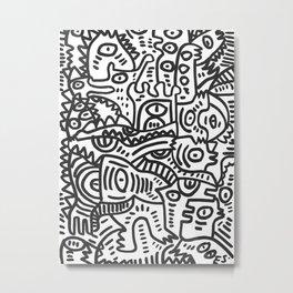 Black and White Street Art Graffiti King's Party Metal Print