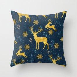 Golden Reindeer Throw Pillow