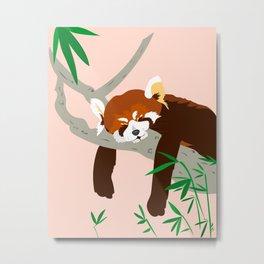 Snoozing Red Panda Metal Print