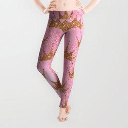 Princess Glitter Gold Crowns on Lollipop Pink Leggings