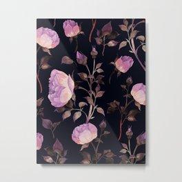 Beautiful Floral Flower Pattern Watercolor Glowing Purple Pink Flowers Black Backgroud Metal Print