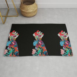 Quilted Floral Fist Rug